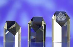 3D crystal pentagonal award trophy