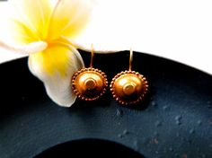 Gold Plated Dangle Earrings  Exquisite by ChenFuchsJewelry on Etsy