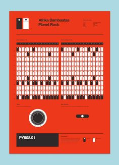 UK designer Rob Ricketts created these straightforward visualizations of the drum machine sequences used on a Roland 808 drum machine. - Afrika Bambaataa's breakbeat.