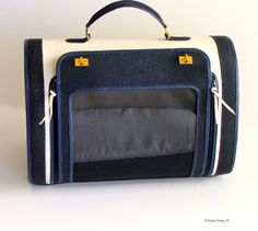 Navy Stingray Leather Pet Carrier by bwinstondesigns on Etsy, $1095.95