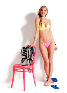 Mix and match color with color. PINK Push-Up Lace Racerback Bra and Lace Back Panty.