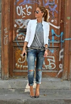White blazer, grey tee  rip jeans