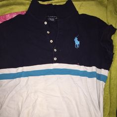 Ralph Lauren polo shirt Navy, turquoise & white Ralph Lauren Tops