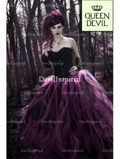 Black and Fuchsia Gothic Corset Ball Gown Prom Dress