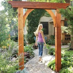 This classic garden arch has just six parts and can be built in less than a day. Create a gateway, frame a walkway in a hedge, or make it part of a trellis Garden Arch Trellis, Garden Archway, Garden Arbor, Garden Gates, Sloped Garden, Balcony Garden, Diy Pergola, Pergola Ideas, Retractable Pergola
