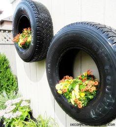 Idea jardín neumáticos