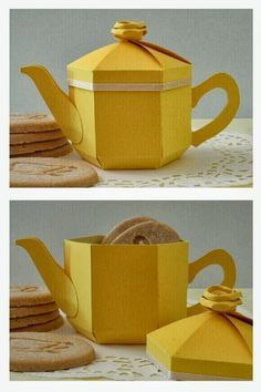 Yellow teapot gift box and lemon biscuit treats! - by Esselle Crafts by annabelle 3d Paper Crafts, Paper Toys, Paper Art, Diy And Crafts, Crafts For Kids, Yellow Teapot, Creative Gift Wrapping, Mad Hatter Tea, Box Packaging