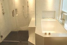 GLASS TILE BATHROOMS - Mixed Cloud Glimmer Glass tile