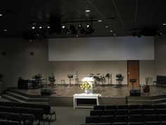 "Granbury, TX Self described as a ""melting pot of people from various church backgrounds and experiences,"" Gateway Community Church finished constructing a new worship center in… Church Interior Design, Church Stage Design, Church Backgrounds, Church Building, Restoration, Community, Flooring, Auditorium, Church Ideas"