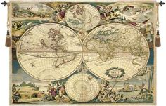 Woven in Italy History: Planisfero is an Italian jacquard wall tapestry. This historical world map reportedly by cartographer Joan Blaeu and completed in 1565.
