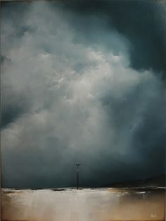 """All is Lost"" by Adam Hall. Stunning storm clouds above a tightly-stretched electric wire. Contemporary Landscape, Landscape Art, Landscape Paintings, Landscape Photography, Art Photography, Contemporary Abstract Art, Travel Photography, Seascape Paintings, Oil Painting Abstract"