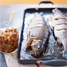Whole-Roasted Trout with Asian Pear-Fig Chutney - Asian-Inspired Recipes - Coastal Living Mobile Trout Recipes, Pear Recipes, Seafood Recipes, Fig Chutney Recipe, Chutney Recipes, Dried Figs, Fish And Seafood, Food And Drink, Favorite Recipes