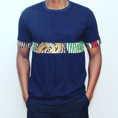 Ankara Tshirt with ankara in the middle trending men clothing and t-shirt from our store and get up to off. You will not find this rare clothing in any other store, so grab this Limited Time Discount Now! African Clothing For Men, African Shirts, African Wear Styles For Men, African Print Dresses, African Print Fashion, Africa Fashion, African Dress, Mens Clothing Styles, Fashion Prints