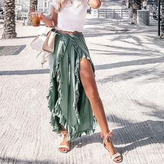 Luxurious High Waist Split Summer Pants - Luxurious Sexy Bodycon One Shoulder Ruffles Dress – Luxurious Style Source by shannonsnowlowr - Winter Mode Outfits, Summer Fashion Outfits, Cute Summer Outfits, Spring Summer Fashion, Spring Outfits, Cute Outfits, Outfit Ideas Summer, Summer Fashions, Summer Wear