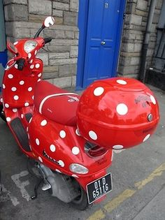 She wore an itsy bitsy teeny weeny Red Polka Dot Vespa? lol  www.throttlexbatteries.com Carries all your Vespa scooter needs.