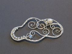 Silver wrapped cloud with freshwater pearl and crystal - by Katalin KB Walcott