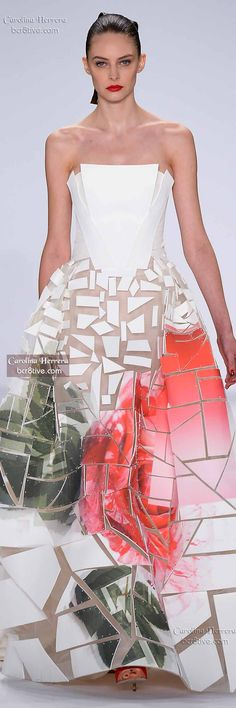 Carolina Herrera Spring 2015 uses foam pieces stitched into gauzy fabrics to create a geometric effect.