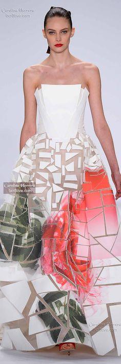 Carolina Herrera Spring 2015 uses foam pieces stitched into gauzy fabrics to create a geometric effect.