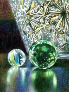 Veronica Winters - Two Marbles and The Crystal Vase (Colored Pencil)