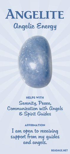 Angelite helps with communication with your angels and Spirit guides. It radiates serenity, helping you to shift into a peaceful state of mind. Learn more about Angelite meaning + healing properties, benefits & more. Visit to find gemstone meanings & info about crystal healing, stone powers, and chakra stones. Get some positive energy & vibes! #gemstones #crystals #crystalhealing #beadage