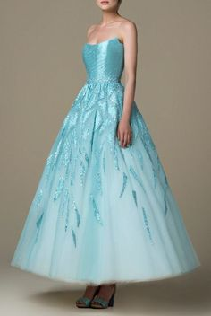 SK by Saiid Kobeisy Filtered Aqua Strapless Brocade A Line Gown SK 27   Poshare Fabulous Dresses, Beautiful Gowns, Pretty Outfits, Pretty Dresses, Princess Barbie, Saiid Kobeisy, Silky Dress, A Line Gown, Anime Outfits