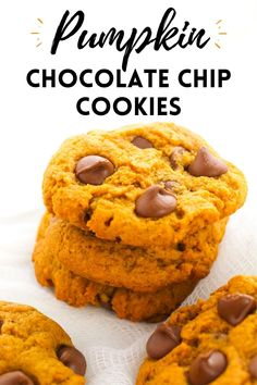 The best pumpkin chocolate chip cookies. They are soft, chewy, and packed with delicious pumpkin spice flavor! #PumpkinSpice #PumpkinRecipes #CookieRecipes #FallCookies #FallRecipes #FallFood #ThanksgivingRecipes #FallDesserts #Pumpkin #BestCookieRecipes