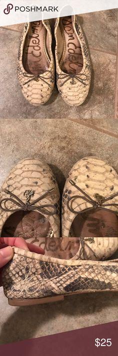 Sam Edelman snakeskin flats, sz 8.5 Minimal wear & tear. Sam Edelman flats in cream/beige snake skin. Super comfy. Sam Edelman Shoes Flats & Loafers