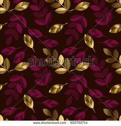 Deep red color decorative seamless pattern with gold elements. Luxury style surface design for wrapping paper, print, background, fabric. Deep Red Color, Dark Colors, Colours, Textile Design, Fabric Design, Cellphone Wallpaper, Small Flowers, Surface Design, Wrapping