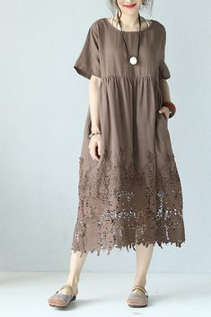Loose Round Neck Lace Linen Quilted Long Dress www. Loose Round Neck Lace Linen Quilted Long Dress www. Baggy Dresses, Linen Dresses, Casual Dresses, Fashion Dresses, Short Sleeve Dresses, Chiffon Dresses, Lace Maxi, Fall Dresses, Dress Lace