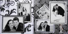 Wedding Scrapbook Page - The Bride & Groom - 2 page wedding layout  done in black & white - from Wedding Album 2