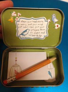 Cute idea for a portable prayer box - made from an Altoid tin