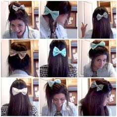 9 Different ways to wear hair bow from @Denise Harding. Everybody go visit somethingtosmileaboutt.blogspot.com