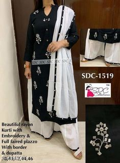 Kurta Sets Women Rayon A-line Embroidered Long Kurti With Palazzos Kurta Fabric: Rayon Bottomwear Fabric: Rayon Fabric: Rayon Sleeve Length: Three-Quarter Sleeves Set Type: Kurta With Bottomwear Bottom Type: Palazzos Pattern: Printed Multipack: Single Sizes: S (Bust Size: 38 in, Shoulder Size: 13.5 in, Kurta Waist Size: 36 in, Kurta Hip Size: 38 in, Kurta Length Size: 40 in, Bottom Waist Size: 32 in, Bottom Length Size: 40 in)  XL (Bust Size: 44 in, Shoulder Size: 15 in, Kurta Waist Size: 42 in, Kurta Hip Size: 44 in, Kurta Length Size: 46 in, Bottom Waist Size: 38 in, Bottom Length Size: 46 in)  L (Bust Size: 42 in, Shoulder Size: 14.5 in, Kurta Waist Size: 40 in, Kurta Hip Size: 42 in, Kurta Length Size: 44 in, Bottom Waist Size: 36 in, Bottom Length Size: 44 in)  M (Bust Size: 40 in, Shoulder Size: 14 in, Kurta Waist Size: 38 in, Kurta Hip Size: 40 in, Kurta Length Size: 42 in, Bottom Waist Size: 34 in, Bottom Length Size: 42 in)  XXL (Bust Size: 46 in, Shoulder Size: 15.5 in, Kurta Waist Size: 44 in, Kurta Hip Size: 44 in, Kurta Length Size: 48 in, Bottom Waist Size: 40 in, Bottom Length Size: 48 in)  XXXL (Bust Size: 48 in, Shoulder Size: 15.5 in, Kurta Waist Size: 46 in, Kurta Hip Size: 46 in, Kurta Length Size: 50 in, Bottom Waist Size: 42 in, Bottom Length Size: 50 in)  Country of Origin: India Sizes Available: S, M, L, XL, XXL, XXXL   Catalog Rating: ★4 (473)  Catalog Name: Women Rayon A-line Embroidered Long Kurti With Palazzos CatalogID_2565736 C74-SC1003 Code: 306-13141071-1851