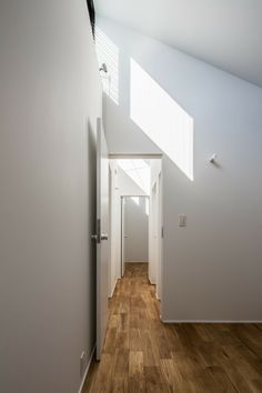 Surprising Japanese Home Design with Rice Fields: Stunning Hallway Wooden Floor Sloping Ceiling Kawate Residence