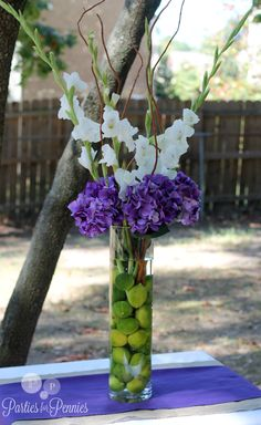 purple and green wedding centerpieces | Wedding Centerpiece #1
