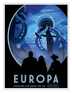 """Europa - Life Under the Ice"" Retro Space Exploration NASA Travel Poster - Poster A3, Poster Retro, Poster Series, Space Tourism, Space Travel, Travel Trip, Travel Deals, Travel Destinations, Travel Tourism"