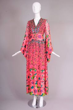 1970s Oscar de la Renta Floral Silk Evening Gown 4
