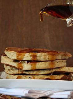 Peanut Butter Chocolate Chip Pancakes. The best pancakes you'll ever eat!