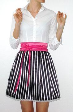 Faltenrock schwarz weiß gestreift von lucylique - Mode und Accessoires made in Leipzig auf DaWanda.com