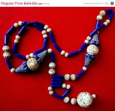 Ornate Art Deco Egyptian Revival Czech Blue and Cream Art Glass MAX NEIGER Vintage Flapper Necklace