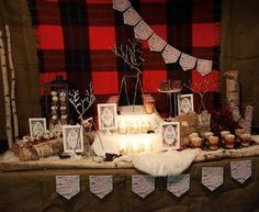 Display: Blanket + Logs  {via One Stone Events for Bird's Party Magazine}