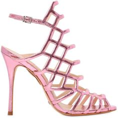 Schutz Women 110mm Juliana Metallic Leather Sandals ($255) ❤ liked on Polyvore featuring shoes, sandals, heels, pink, pink high heel shoes, leather heeled sandals, metallic leather sandals, elastic sandals and pink sandals