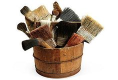 Wood Bucket w/Brushes/One Kings Lane
