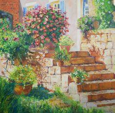 #Sommer #Brasilien #Blumen #Treppe #Garten #ölmalerei #Kunst Create Yourself, Etsy Seller, Creative, Painted Canvas, Brazil, Stairway, Summer, Flowers, Garten