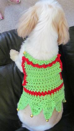 Custom made crocheted elf suit for dog or cat by DoodleYarns.
