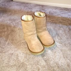 Ugg camel color boots !  Size 7 few little spots. Haven't tried to clean. See pictures. Price reflects these.  Heels look good !  Also, see 2nd posting for these boots !! UGG Shoes Winter & Rain Boots