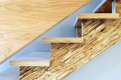 Images and explanations from the Philadelphia Passive House by Postgreen Homes. Features birch plywood floors and walls, hacked IKEA cabinetry, strand woven bamboo counters, solar PV and Serious Materials windows. Rustic Stairs, Wood Stairs, House Stairs, New Staircase, Staircase Design, Staircases, Residential Architect, Architect Design, Green House Model