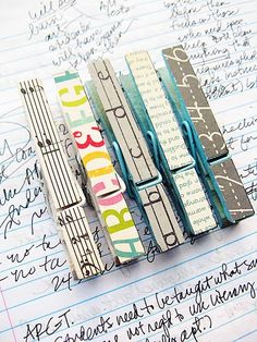 Clothes pins covered with decorative paper for office supplies... or for those pictures, art, etc I want to hang in the classroom... so cute!