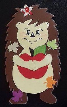Window picture Clay carton autumn hedgehog girl with apple handwork Hobbies For Kids, Hobbies And Crafts, Diy For Kids, Crafts For Kids, School Wall Decoration, School Decorations, Cardboard Crafts, Paper Crafts, Birthday Chart Classroom