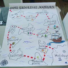 Dieses Jahr werde ich in Englisch mal mit einer Orientierungskarte zu allen Themen des Schuljahres arbeiten. Die Kinder haben eine kleine Karte für ihren Hefter, auf der sie die Inseln aus- und bemalen und so ihren Lernerfolg visuell dokumentieren können. Das Schiff reist natürlich von Insel zu Insel ;) #englisch #grundschule #klasse4 @grundschule.tohuwabohu